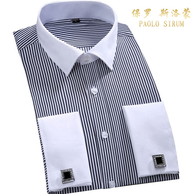 Men's Dress Shirts Loose French Cuff Regular fit Luxury Striped Business Long Sleeve Cufflinks Social Plus Size Men Shirt 6XL 2