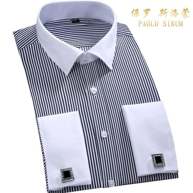 Men's Dress Shirts Loose French Cuff Regular fit Luxury Striped Business Long Sleeve Cufflinks Social Plus Size Men Shirt 6XL 2