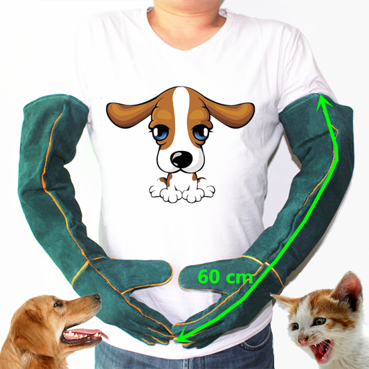 Gloves For Catch Dog,cat,reptile,animal Ultra Long Leather Green  Pets Grasping Biting Protective Gloves Anti-bite Safety Bite