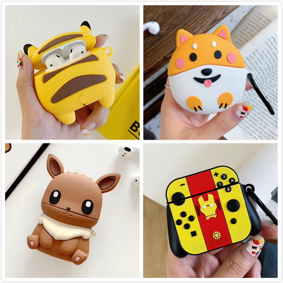 3D Rabbit Earphone Cases For AirPods Case 3D Cute Cat Dog Cartoon For Apple Air Pods Cover For Earpods Earbuds Case Ring Strap