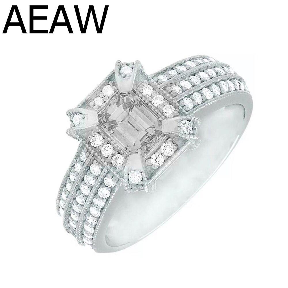 Bague de fiançailles 2 carats Moissanite solide en or blanc 14K bague de fiançailles en or blanc taille émeraude bague de mariage en diamant de laboratoire pour femmes