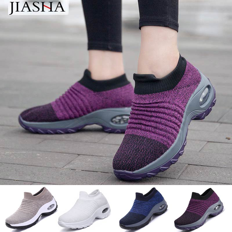 Sneakers Women Shoes 2019 New Wedges Slip-on Solid Casual Shoes Woman Tenis Feminino Breathable Mesh Women Sneakers Ladies Shoes