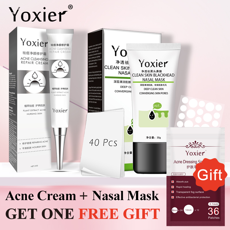 Buy 2 Get 1 Gift Yoxier Acne Treatment Set Face Cream Remove Blackhead Mask Shrink Pores Cleanser Oil Control  Skin Care