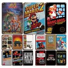 Affiche de jeu vidéo en métal, Plaque décorative, Vintage, Super Mario
