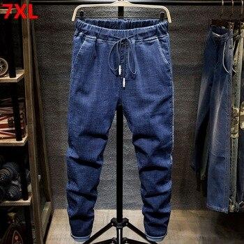 Large size jeans black men's  man plus size harem pants autumn elastic stretch Slim feet trousers 7XL 6XL 5XL 1
