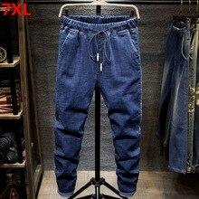Büyük boy kot siyah erkek adam artı boyutu harem pantolon sonbahar elastik streç ince ayak pantolon 7XL 6XL 5XL