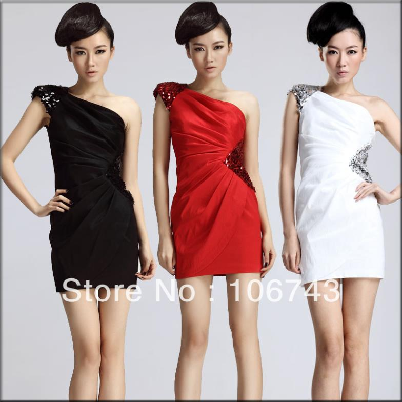 Free Shipping 2016 New Design Vestidos Formal Sexy Short Mini One Shoulder Paillette Elegant Party Gown Bridesmaid Dresses