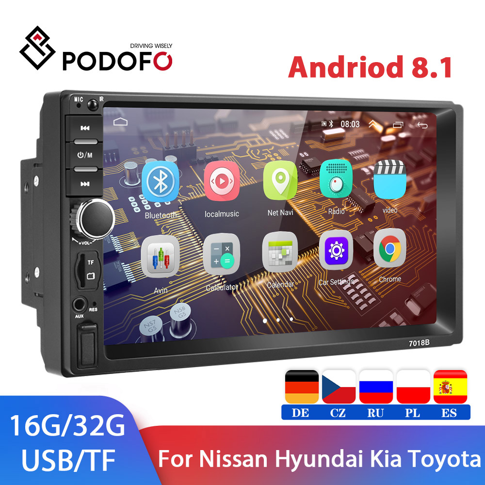 Podofo 2 din Android 8.1 Car Radio GPS multimedia Player Universal auto Stereo Video MP5 Player Autoradio GPS WIFI Bluetooth FM image
