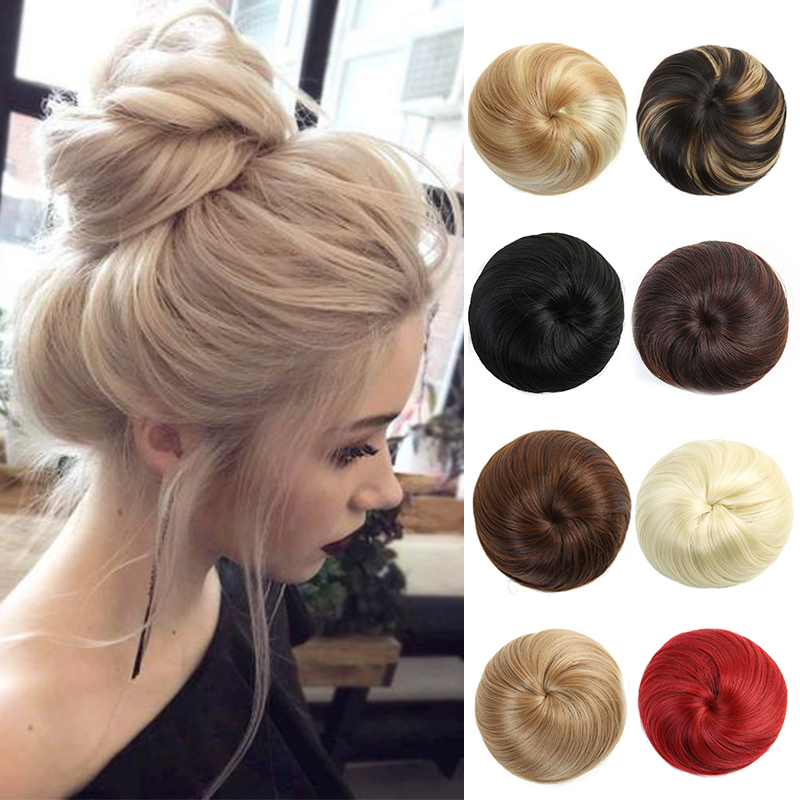 LUPU Donut Chignon Clip In Synthetic Hairpieces With Elastic Bands Hair Bun Heat Resistant Fiber Hair Extensions For Girls