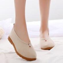 Туфли женские из хлопка и льна удобные тканевые туфли на толстой