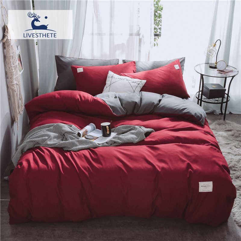 Liv-Esthete 2019 New Luxury Red Gray Bedding Set Soft Printed High Quality Duvet Cover Flat Sheet Double Queen King Bed Linen
