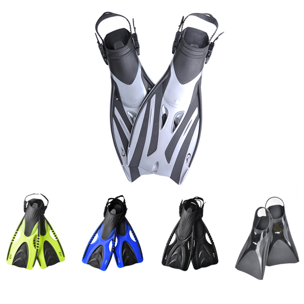 Open Heel Adult Diving Fins Snorkeling Long Flippers Non-slip Adjustable Diving Frog Shoes Fins Underwater Training Swimming