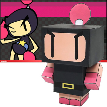 No-glue Bomberman Mini Folding Cutting Cute 3D Paper Model Papercraft Japan Anime Figure DIY Cubee Kids Adult Craft Toys CS-018 image