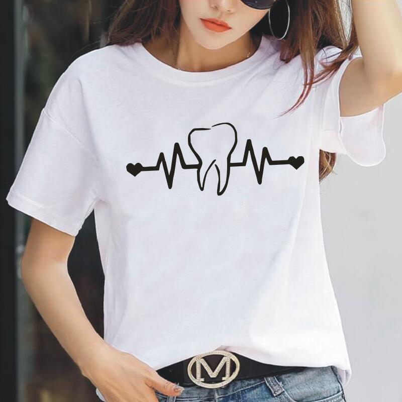 Fashion Dentist Heartbeat Women Tshirt Casual Short Sleeve Hipster Funny Tee Shirt Femme Plus Size Harajuku T Shirt Women Tops
