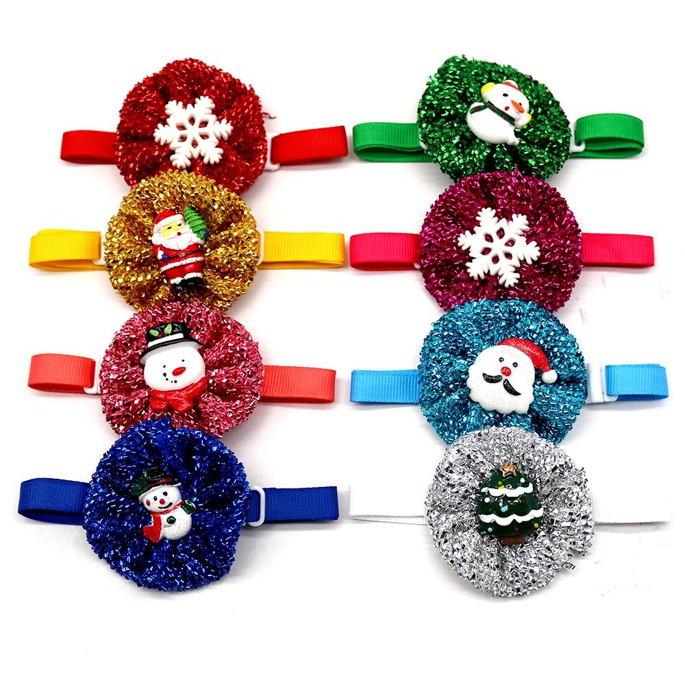 20/50pcs Chirstmas Dog Accessories Pet Dog Wedding Bow Tie Collar Samll Dog Bowtie Shining Santa Claus Pet Dog Grooming Products