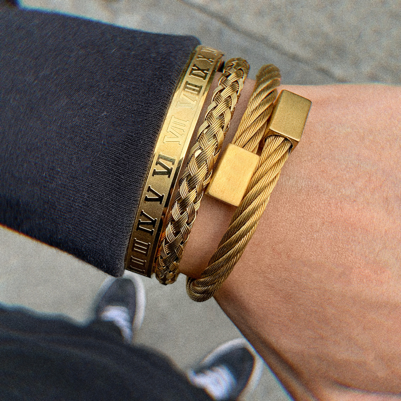 Luxury Roman Number Charm Woven Stainless Steel Bracelet Hip Hop Men Jewelry Gold Color Jewelry For Men Pulseira Bileklik