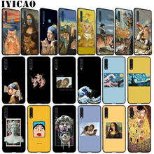Leonardo Da Vinci Mona Lisa Kat David Grote Van Gogh Soft Case Voor Samsung Galaxy A6 A9 A8 A7 2018 a5 Note 9 8 10 Plus Lite(China)