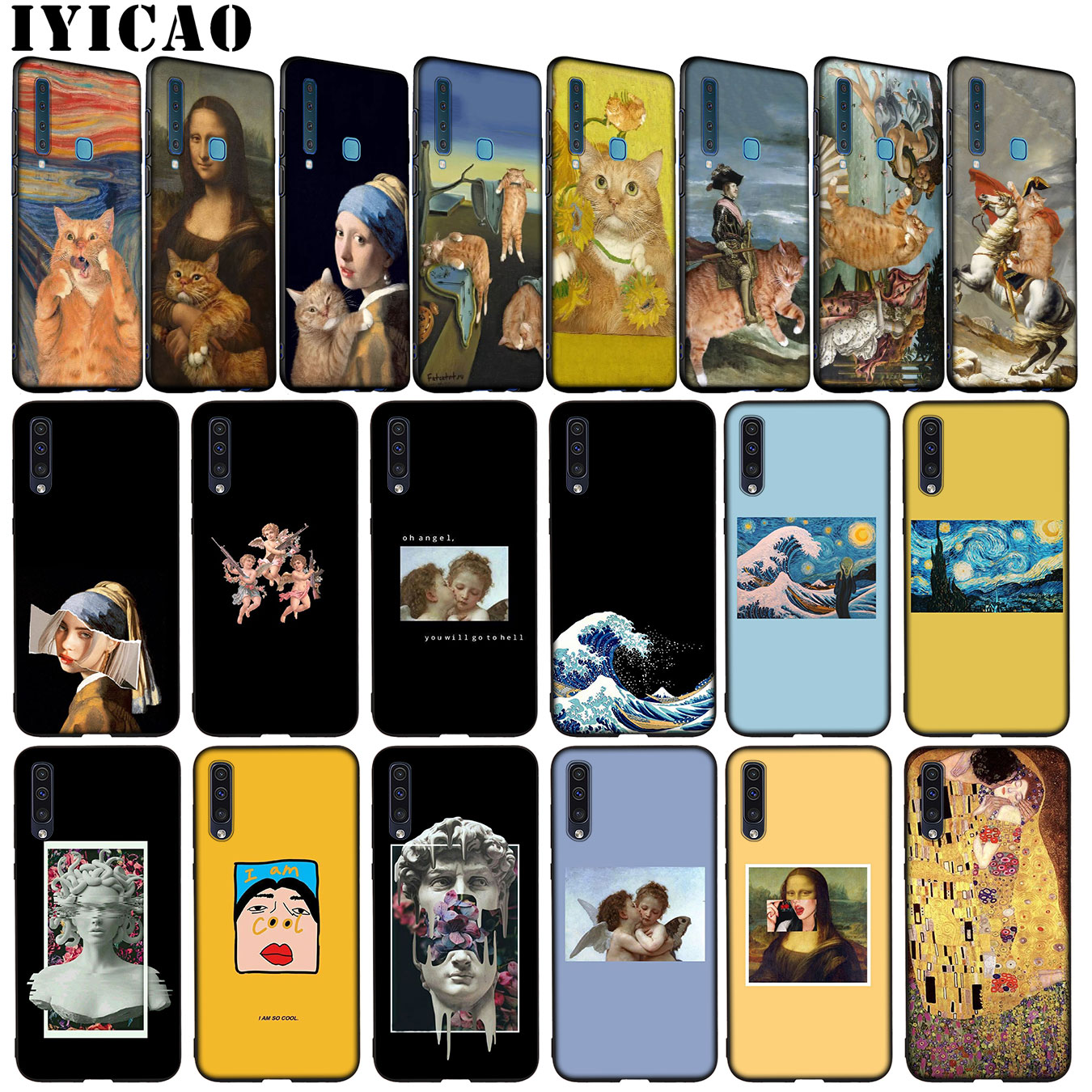 Leonardo da Vinci Mona Lisa <font><b>Cat</b></font> David Great van Gogh Soft <font><b>Case</b></font> for <font><b>Samsung</b></font> <font><b>Galaxy</b></font> A6 A9 <font><b>A8</b></font> A7 <font><b>2018</b></font> A3 A5 2017 Note 9 8 10 Plus + image