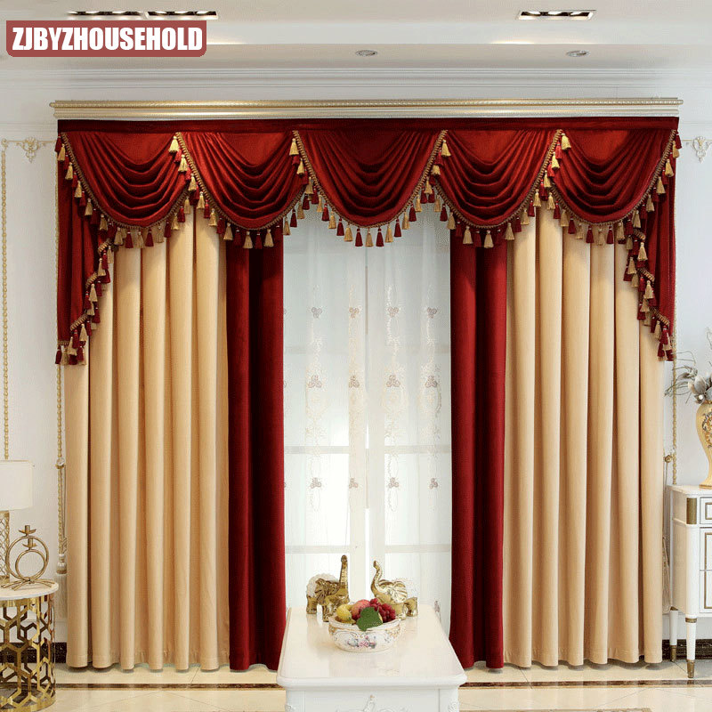 Custom Curtain Thick Luxury Shading, Living Room Curtains With Valance