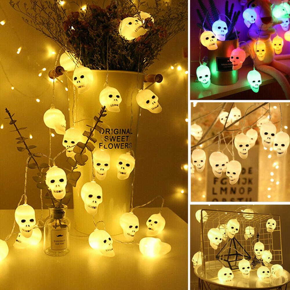 1.5M 10 LED/3M 20 LED  Lights String Skull String Fairy Lights Lantern Party Home Props Halloween Decoration Party House