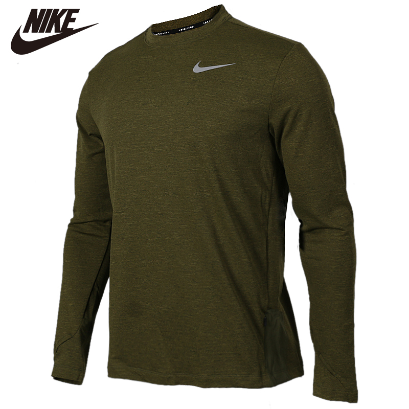Original <font><b>NIKE</b></font> Olive Green AS M NK SPHR ELMNT TOP CRW LS 100% cotton Soft <font><b>Tshirts</b></font> Comfortabe Clothing Limited Sale image