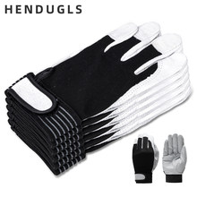 HENDUGLS 5pcs Hot Sale D Grade Leather Work Gloves Wear-resistant Safety Working Gloves Men Mitten Free Shipping 508 Gloves