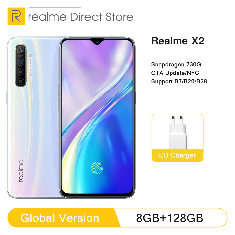"Global Version realme X2 8GB RAM 128GB ROM NFC 6.4"" Moblie Phone Snapdragon 730G 64MP Quad Camera Cellphone VOOC 30W Fast Charge(China)"