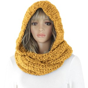 2 In 1 Wool Hat Scarf Knitting Cotton Beanie Scarf For Woman Scarf Winter Warm Thick Chiffon Hijab Fashion Wool Hat Scarf
