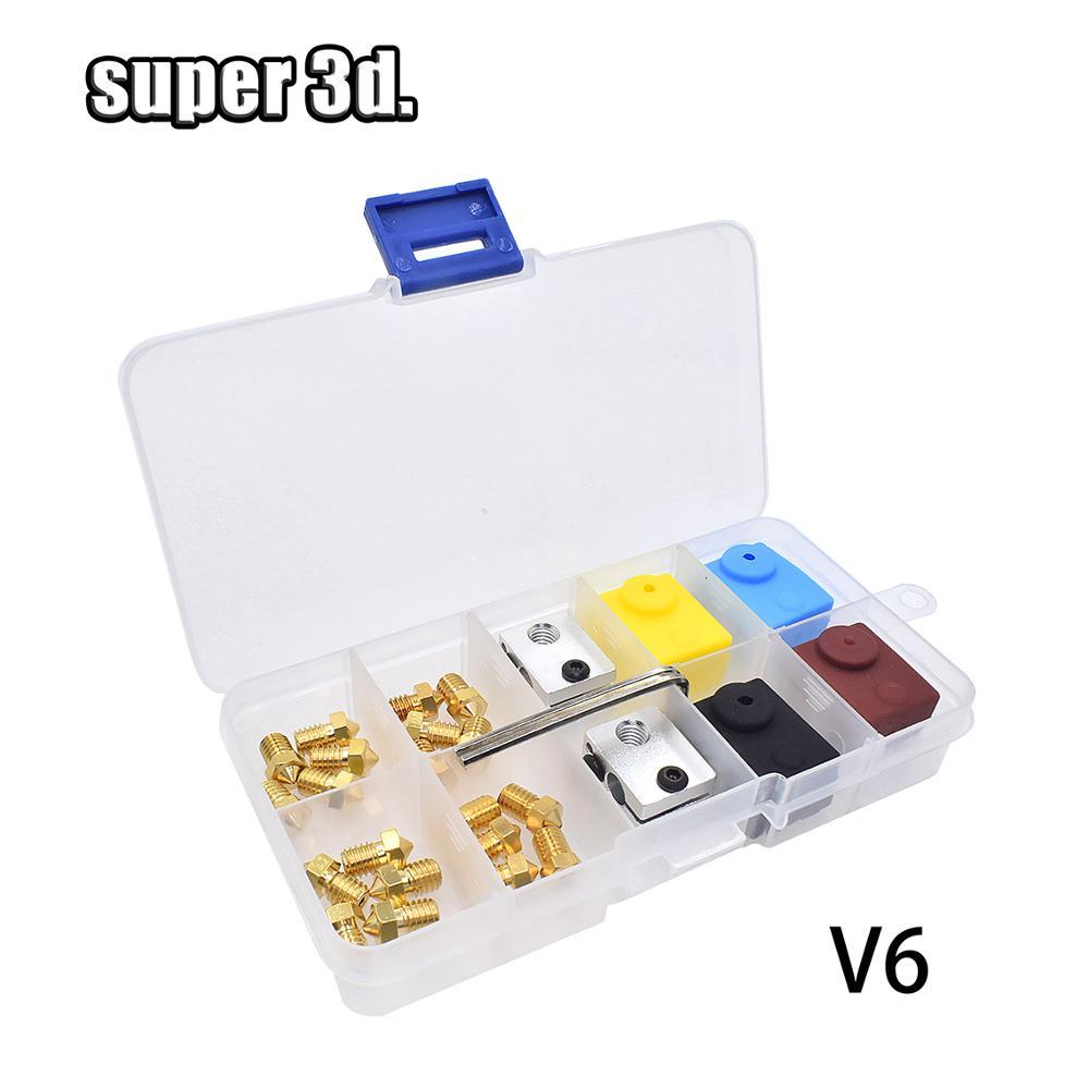 1 set E3D V6 MK7 1 75mm Nozzle Heat block mk8 mk7 Silicone Socks For A8 CR-10 Ender 3 3D Printer Extruder Print Head parts kit