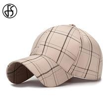 FS Casual Plaid Snapback Dad Hats Cap Beige White Gentleman