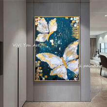 Wall art Hand Painted Abstract gold Butterfly Art Oil Paintings On Canvas Painting For Living Room Home Decoration