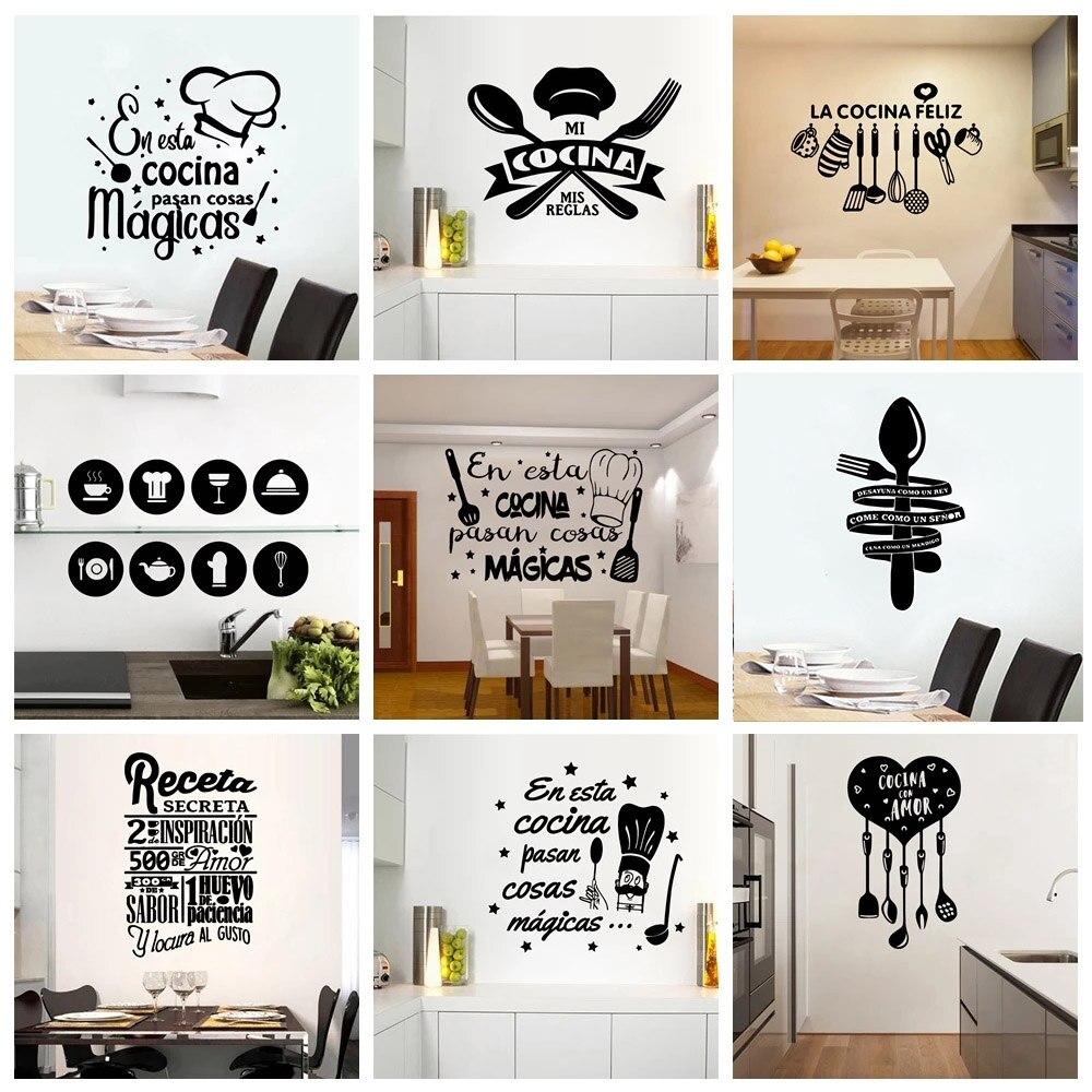Texto diy vinil cozinha citações espanhol adesivos de parede de vinil papel de parede para quartos de cozinha decoração decalques de casa adesivo decalque