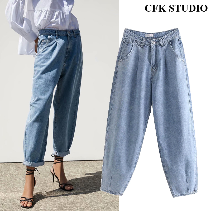 Za Women Jeans 2020 New High Street Fashion With High Waist Solid Vintage Loose Jeans Blue Long Denim Harem Pants For Women