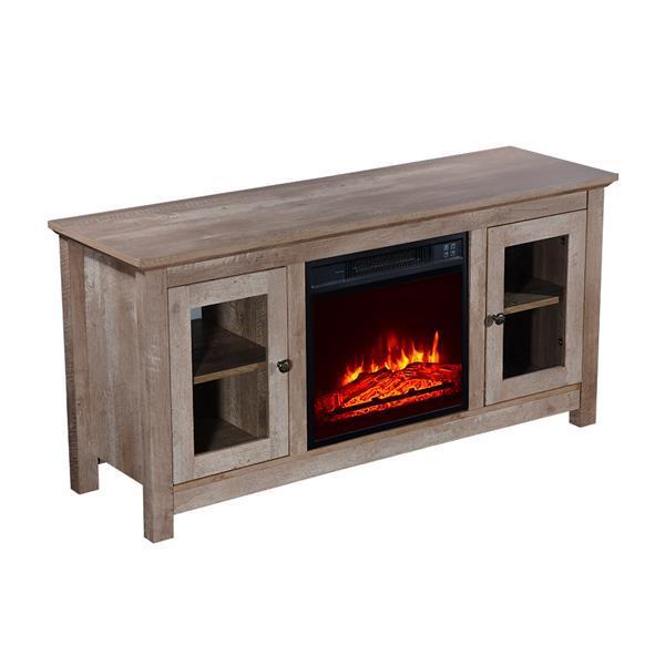 51 inch Log Cyan Fireplace TV Cabinet 3