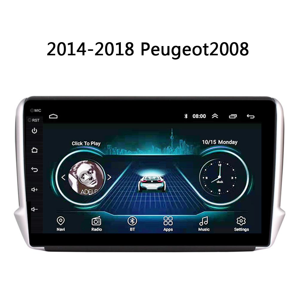 auto radio For <font><b>Peugeot</b></font> 2008 <font><b>208</b></font> car DVD Player 2014 2015 2016 2017 2018 GPS navi system support Carplay SWC Android 8.1 no 2 din image