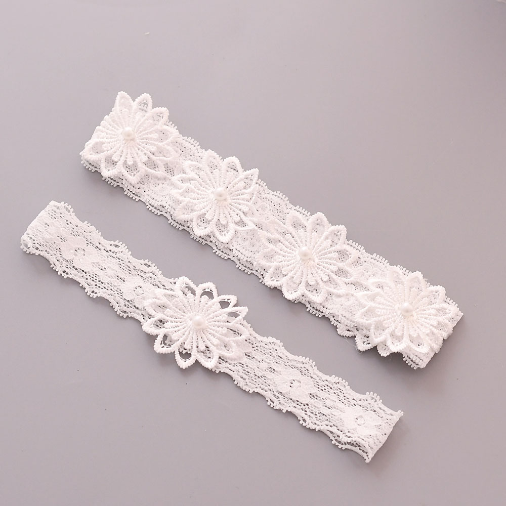 YouLaPan Wedding Leg Garter Belt Sexy Bridal Thigh Leg Garter Ring White Embroidery Wedding Garter Party Thigh Rings TH27 28