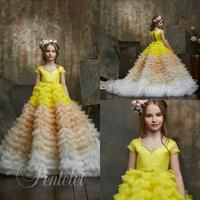 2020 Pentelei Colorful Flower Girl Dresses V Neck Beads Tiered Skirts Girls Pageant Gowns Cap Sleeve Luxury Prom Party Dress