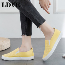 Pink Shoes Women Yellow Sneakers Slip On Moccasins Girl Leather Shoes Summer Breathable Nice Quality Solid Color All Match 35-40 недорого