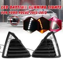 1pair LED DRL Daytime Running Light White & Yellow Turn Signal Light Lamp For Ford Focus 2012 2013 2014 2015