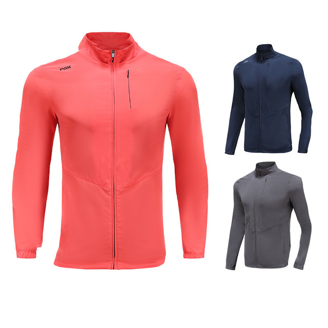 PGM Men Golf Clothes Waterproof Thin Coat Windbreaker Vest Autumn Zipper Long Sleeve Jacket Male SportsWear Keep Warm Apparel 2