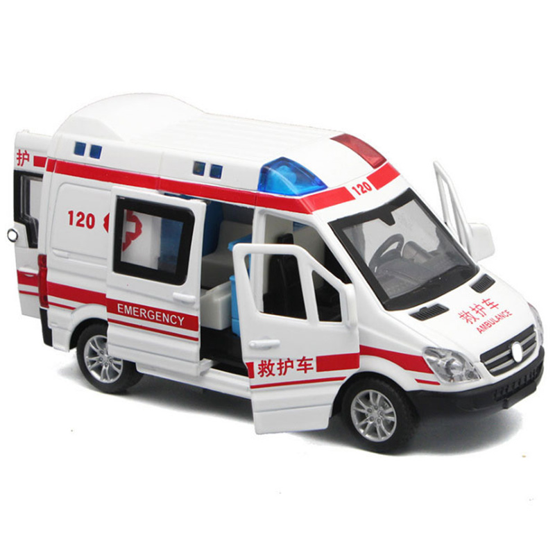 1:32 Hospital Rescue Ambulance Police Diecast Metal Car Model With Pull Back Sound Light For Children Toys Gifts