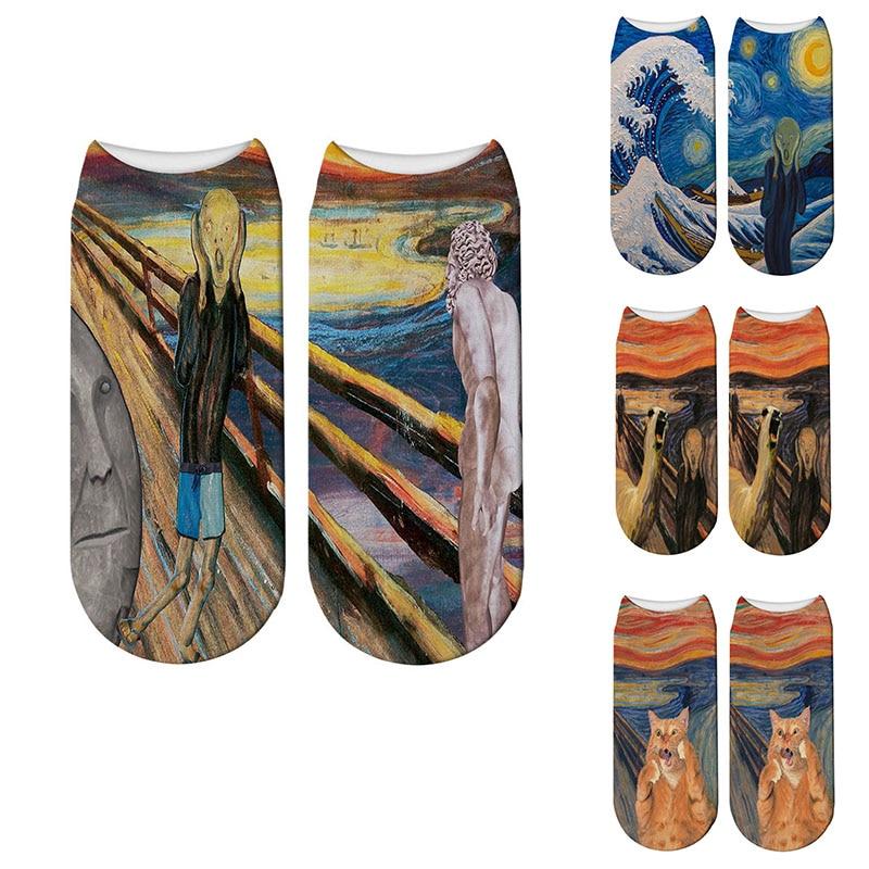 Creative Design Women Short Socks 3D Printed Van Gogh Oil Painting Socks For Women Happy Harajuku Art Low Ankle Socks Girl Gift
