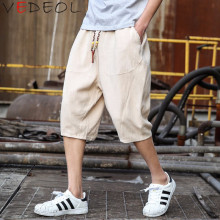Summer mens linen 6-minute trousers Youth casual large-size Hallen 7-minute Loose wide-legged
