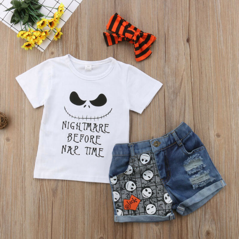 Kids Baby Girl Clothes Set 2019 Toddler Short Sleeve Summer Halloween T shirt Top Denim Shorts Headband Clothing Outfits 3pcs|Clothing Sets| - AliExpress