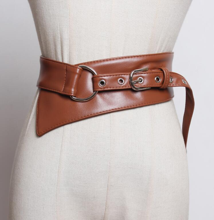 Women's Runway Fashion Pu Leather Cummerbunds Female Dress Corsets Waistband Belts Decoration Wide Belt R2404