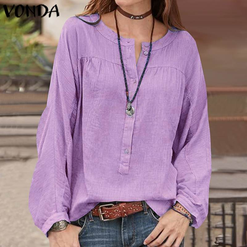 Fashion Blouses 2019 VONDA Womens <font><b>Sexy</b></font> Button Cotton Long Sleeve Shirts <font><b>Femme</b></font> Casual Loose O Neck Tops And Blouse Plus Size <font><b>5XL</b></font> image