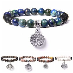 Natural blue lapis lazuli stone bracelet jewelry for men women healing tree of life silver color charm Beaded Bracelet handmade