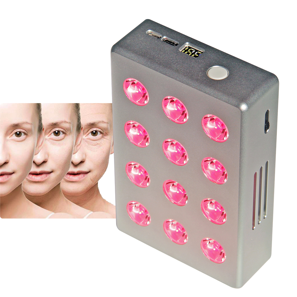Pure Red Therapy Light Beauty Device With Battery Inside 660nm 850nm 12W Red Infra Led Light Face