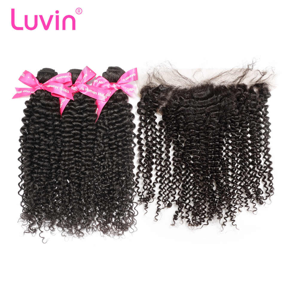Luvin OneCut Hair Kinky Curly Virgin Hair Bundles 3 Bundles With Frontal Closure Brazilian Hair Weave Human Hair Extensions
