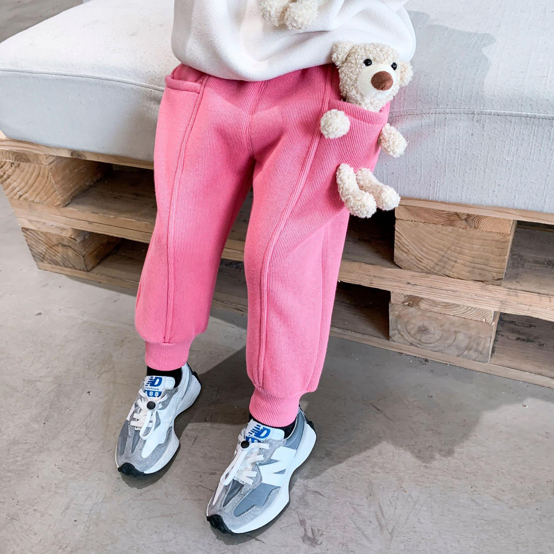 2021 Autumn Winter New Arrival Boys and Girls Cartoon Bear Pants Kids Warm Fleece Trousers 2
